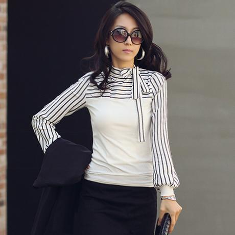 Size S-XXL Fashion Stripe Long sleeve T-Shirts For Women 2015 New Black White Bow Collar Tops Tees Shirts