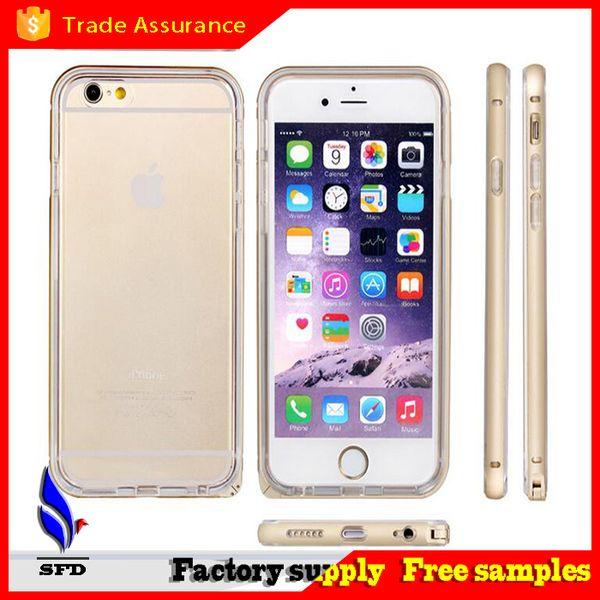 2 in 1 Aluminium metal bumper case with Soft tpu cover case for Iphone 6 6+ Plus
