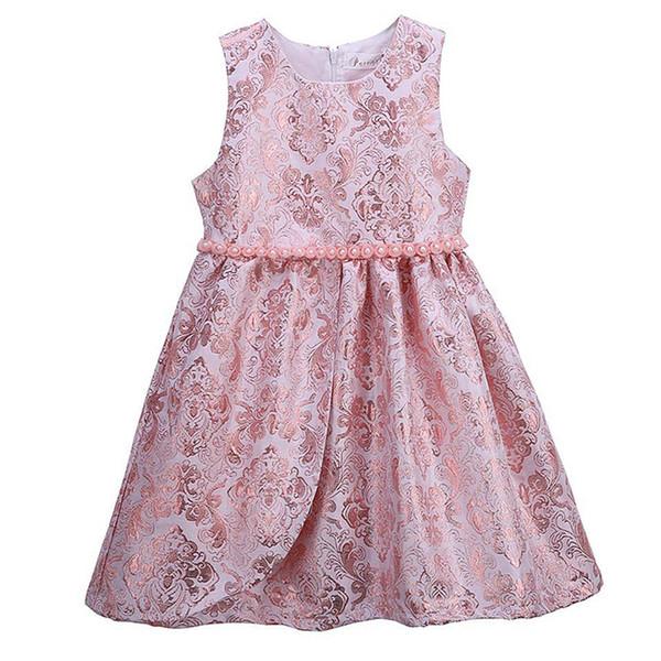 Pettigirl Girls Elegant Flower Dresses Rosa O-Collo Kids Vest Dress With Pearls Vendita al dettaglio Kids Designer Clothes Girls GD81125-335F