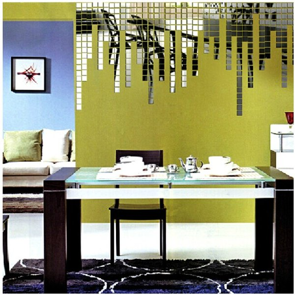 Creativo 3D 5 * 5 cm / pcs Etiqueta engomada del espejo DIY Diversión Magia Cuadrada Etiqueta de la pared Etiqueta de la decoración del hogar Papel de la pared Cartel de la pared, gran regalo, EMS gratis