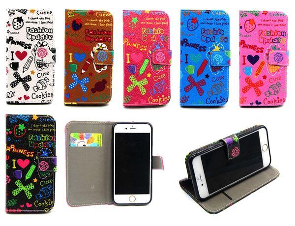 Kesim Karikatür Sihirli Kız Cüzdan Çevir PU Deri Kılıf Standı TPU Kapak iphone 5 5 S 6 Artı Samsung Galaxy S6 Kenar Alfa G850 Grand Başbakan G530