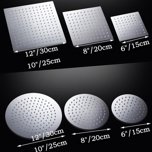 top popular Free Shipping 4 6 8 10 12 inch Stainless Steel Rainfall Shower Head Bathroom Square round Showerhead Faucet Accessory 2019