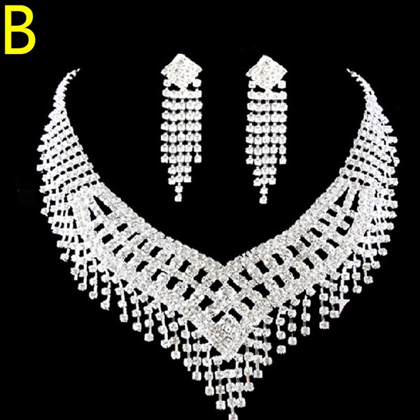 Rhinestones Party Christmas Gift Women Two Sets Bling Wedding Accessories Bridal Hair Crown Headdress Gift Diamond Necklace Jewelry Earrings
