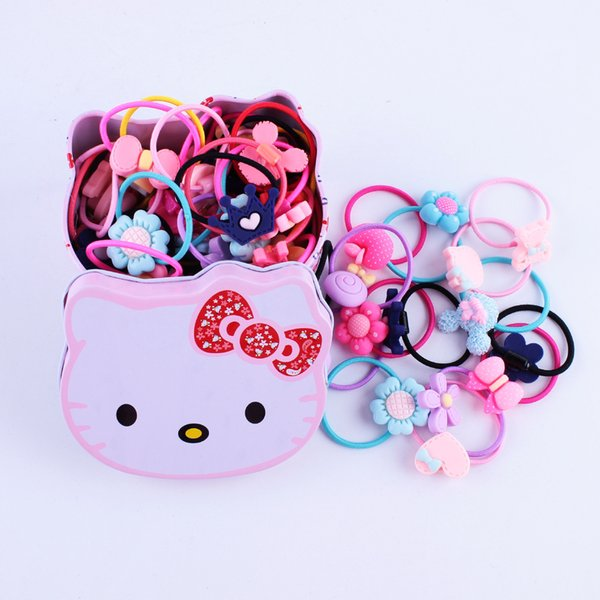 Children's rubber band box cartoon grinding rubber paint hair ring baby girl's hair rope round 40 hair ornaments
