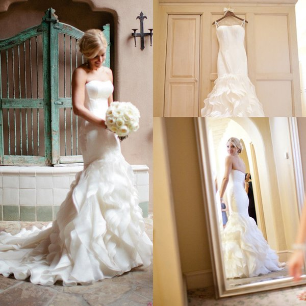 2016 New Vintage Wedding Dresses Strapless Satin Mermaid Trumpet Ruffles Tiered Court Train Plus Size Button Back Formal Cheap Bridal Gowns