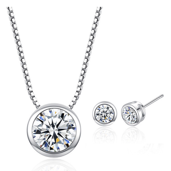 4 Colors Round CZ Zircon Solitaire Pendants Necklaces Stud Earring Jewelry Sets For Women New Fashion Simple Silver Chain Necklaces BF