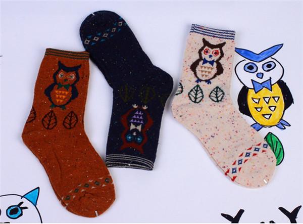 Free Shipping 12 Pairs Middle Tube Cute Cat Fox Wolf Deer Elephant Cartoon Animal Graphic Printed Womens Fleece Wool Blend Knitting Socks