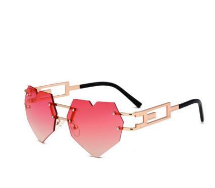 2018 Новый дизайн дамских сердец Модные солнцезащитные очки Женщины без  оправы Transprent Metal Frame Женские очки 509c16101ef