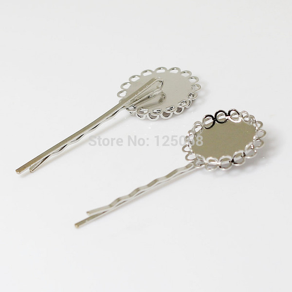 Beadsnice brass hair accessories hair bobby pins with 20mm round cabochon tray ladies' fancy hair clips ID 13371