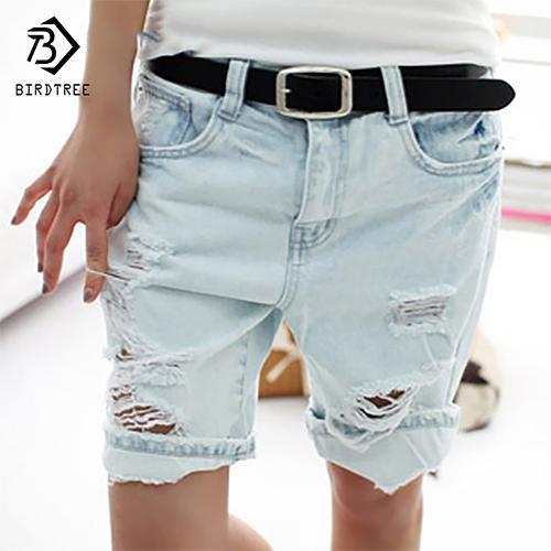 Al por mayor-Algodón Casual Plus Size 4XL 2017 Hot Jeans de las mujeres Short Dog Bordado Agujeros Ripped Pockets longitud de la rodilla Shorts de mezclilla B7031307H