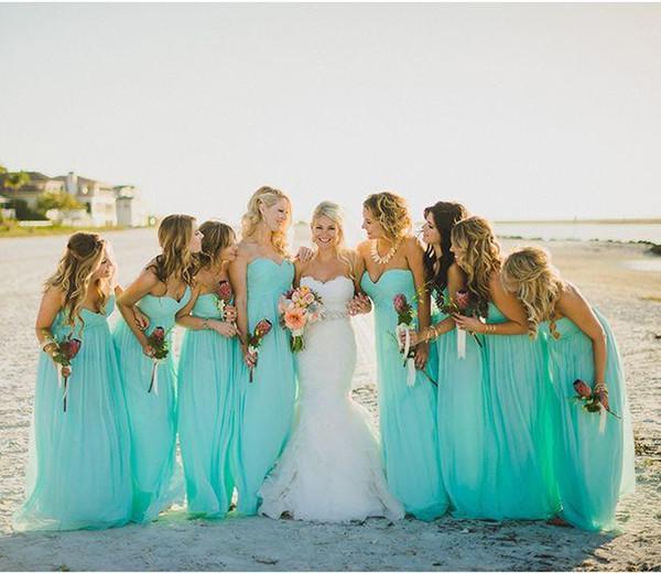 Abiti da damigella d'onore 2015 turchese Beach Party Dress With A Line Ruffle Sweetheart Neck Zip posteriore Piano lunghezza Chiffon Vendita a buon mercato