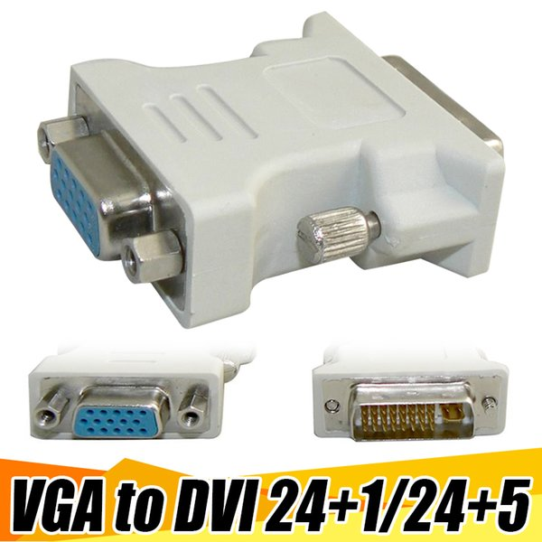 Cheap VGA to DVI Adapter DVI 24+1 24+5 Male Convert To 15 Pin VGA Female Cable Adapter Converter For PC HDTV Free Shipping