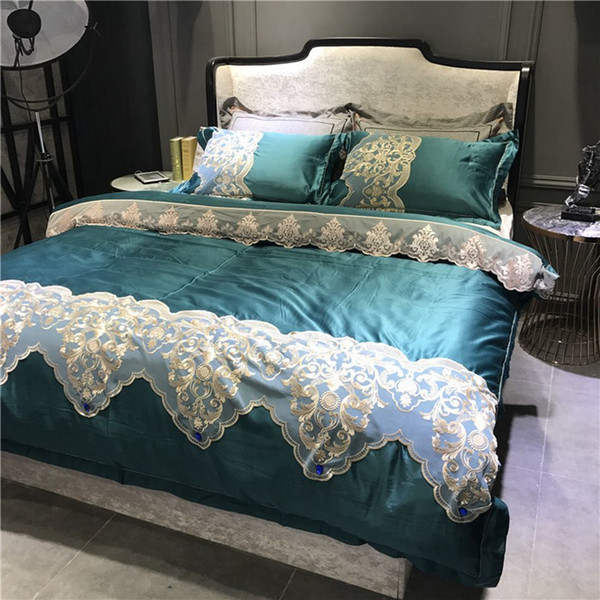 100% Cotton Dark Green Bedding Set With Lace Simple Solid Duvet Cover  Pillowcases Bed Linen