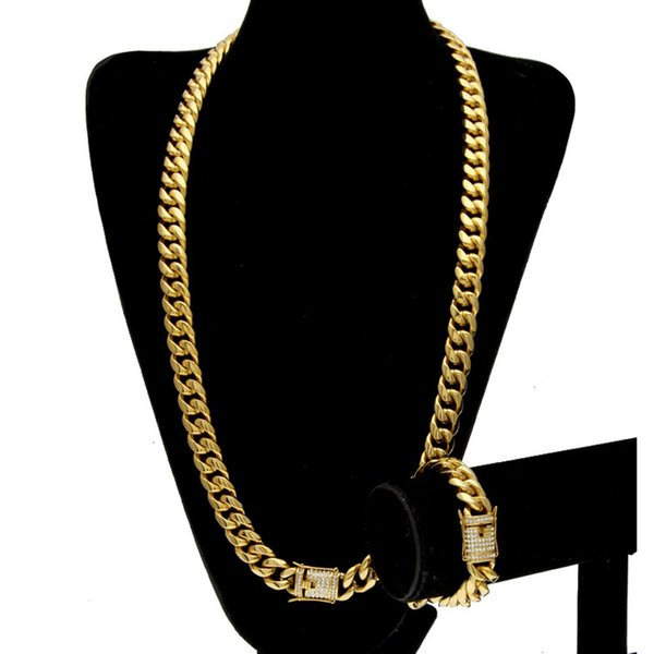 best selling Stainless Steel 24K Solid Gold Electroplate Casting Clasp W Diamond Cuban Link Necklace & Bracelet For Men Curb Chains Jewelry Set 10mm 14mm