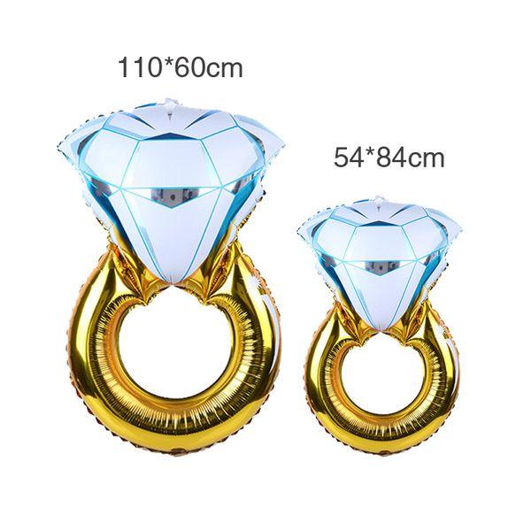 top popular Wedding King size diamond ring aluminum balloon wedding room decoration balloon wedding diamond ring aluminum foil balloon wholesale 2020