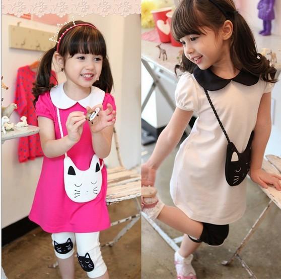Kids Clothes Sets 2018 New Arrival Summer Cat Dress + Short Leggings 2pcs Girls Suits 3 Colour Pure Cotton Children Sets 100-140 TR153