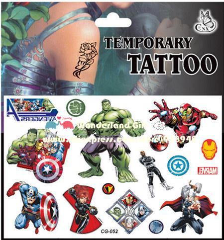 Il trasporto libero 30 pz / lotto Avengers adesivi tatuaggio impermeabile, meraviglia ironman capitano hulk, Rifornimenti del partito regali per bambini giocattoli ragazzi bambino JIA030