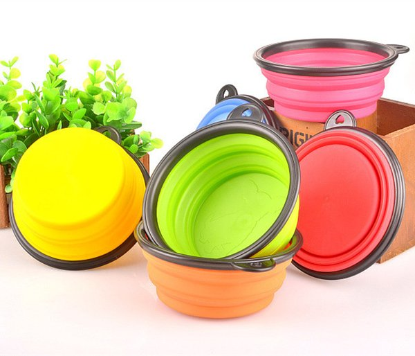 best selling Pet Supplies Bowl Dog Cat Feeders Bowls Dishes Outdoor Portable Collapsible Silicone Caliber 13CM Height 5.5CM Bottom Diameter 9CM Free DHL