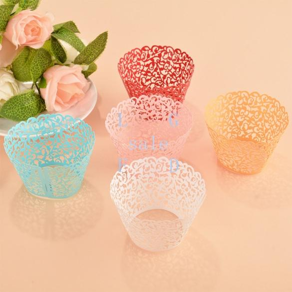 Wholesale-12pcs/set cut hollow lace wedding cupcake wrappers filigree color paper mini cupcakes cup cake baking cups wrapper