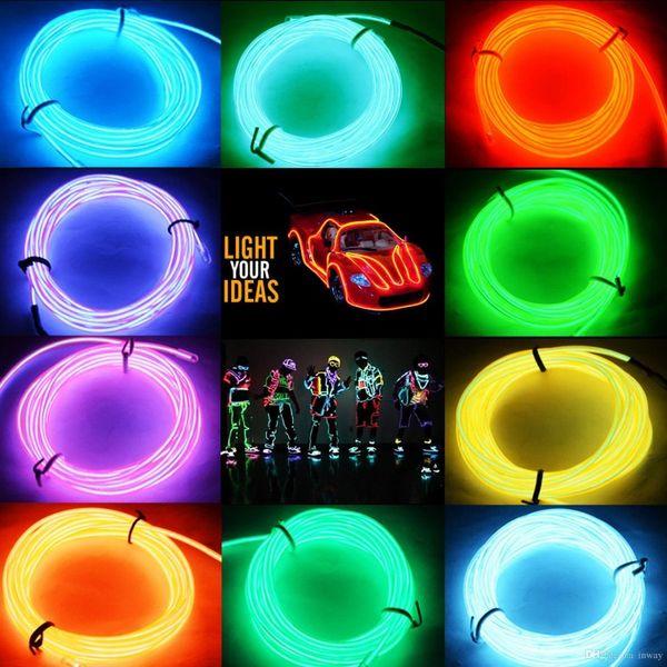 Nuevo multicolor flexible 5M EL tubo de cuerda de alambre neón frío led luz fiesta baile coche decoración sin batería 2AA inversor envío gratis DHL