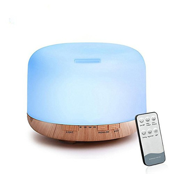 500ml Ultrasonic Air Humidifier led light wood grain Essential Oil Diffuser aromatherapy mist maker Remote Control