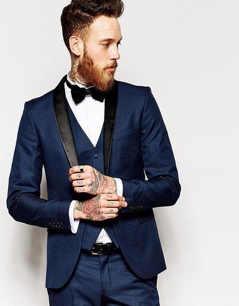 Three Pieces Custom Made One Button Navy Blue Groom Tuxedos Groomsmen Best Man Suit Wedding Men's Suits Bridegroom (Jacket+Pants+Vest)