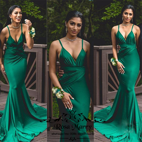 Großhandel Sexy Hunter Green Mermaid Lange Prom Kleider 2k17 Paar ...