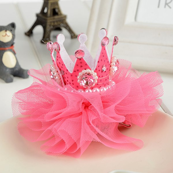 best selling Tiaras Christmas Gift Lovely Baby Hair Clips Pearl Rhinestone Crown Children Accessories High Quality for Wholesale