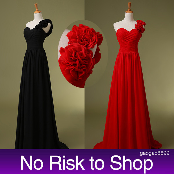 Stokta 50 $ altında Uzun Gelinlik Modelleri Bir Omuz El Yapımı Çiçekler Kırmızı Siyah Örgün Abiye giyim Hizmetçi Onur için 2019 Ucuz