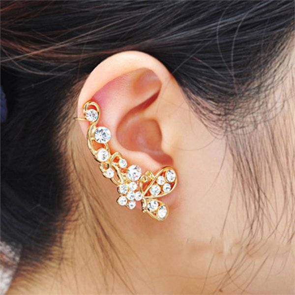 top popular Trendy Crystal Butterfly Flower Clip Earring Ear Cuff Earring Wrap Clip On For Right Ear 2019