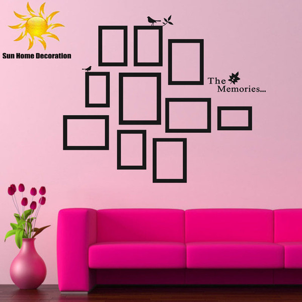 DIY Photo Frame Nero smontabile Vinile Wall Stickers Decalcomanie Preventivo Soggiorno camera da letto sfondo Home Decor Spedizione gratuita
