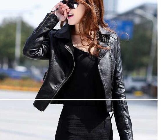 Wholesale-2014 new leather jacket women Winter Women Coat Short Zipper Motorcycle Jacket Pu Leather Clothes outerwear free shipping brazil