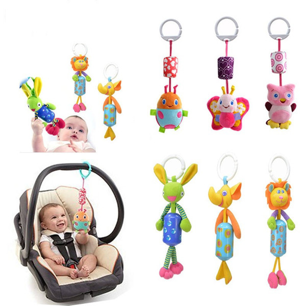 6 style 1pcs Baby Toys Crib Stroller Toy Kawaii Newborn Hanging Baby Rattle Ring Bell Soft Bed Pram Musical Animals Dolls