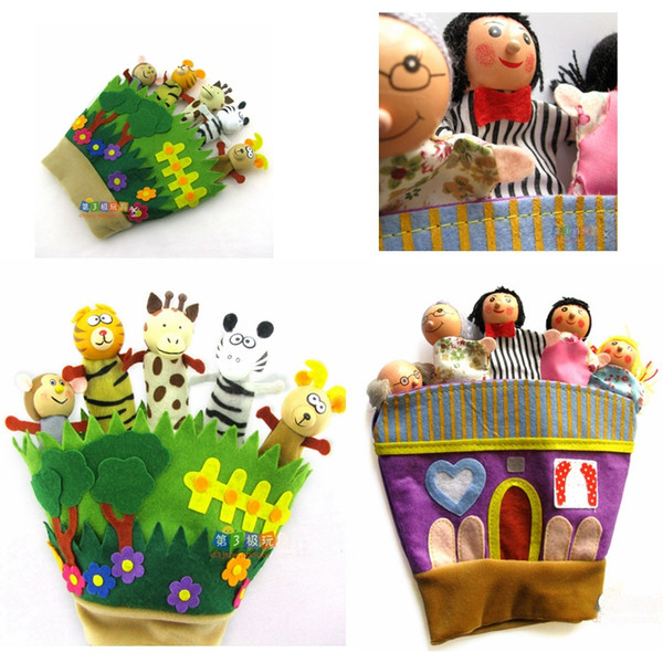 Cloth Plush wooden Animal Forest Glove Finger Puppets & family puppets Animal glove Hand Puppets Kids Toys Zebra