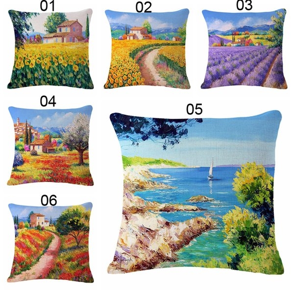 1PC Beautiful Scenic 45*45cm Cotton Linen Cushion Cover Decorative Pillowcases Home Decorative Pillow Cover For Sofa Seat Chair Office