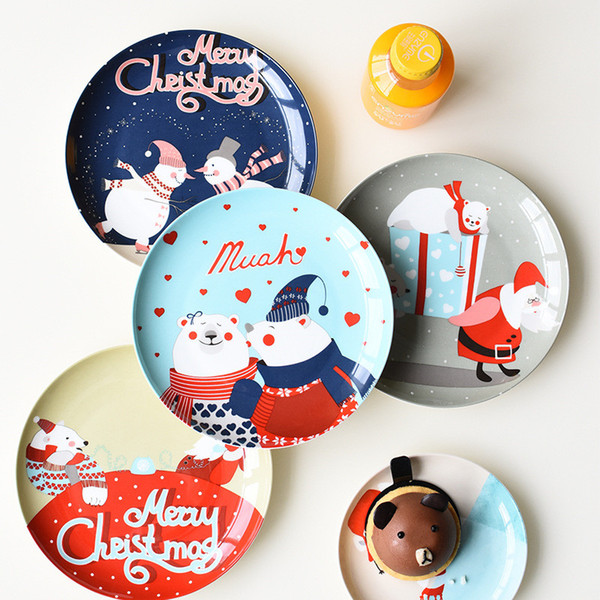 Christmas Plates.2019 Ceramic Christmas Plate Merry Christmasbone China Cake Dishes Plates Porcelain Pastry Fruit Tray Tableware For Steak Dinner From