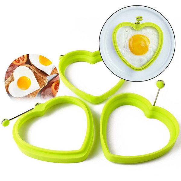 Reusable Silicone Egg Pancake Ring Flower Heart Shape Egg Mold Heart Makes perfect pancakes eggs & Make your kids love breakfast