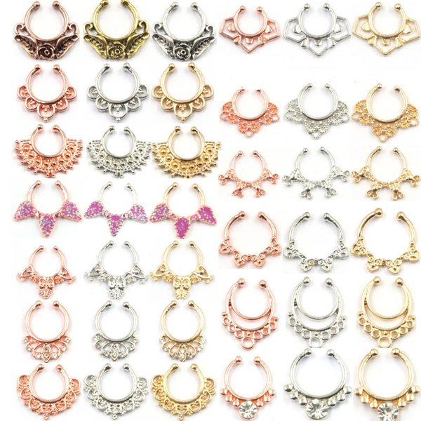100pcs Mixed fake septum Body Hoop jewelry alloy silver and rose gold fake septum piercing nose ring women N0068