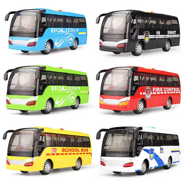 Plastic Abs Model Toys Bus Diecast Toy Vehicles Pull Back & Flashing & Musical High Simulation School Bus New Year Kid Gift Q0239