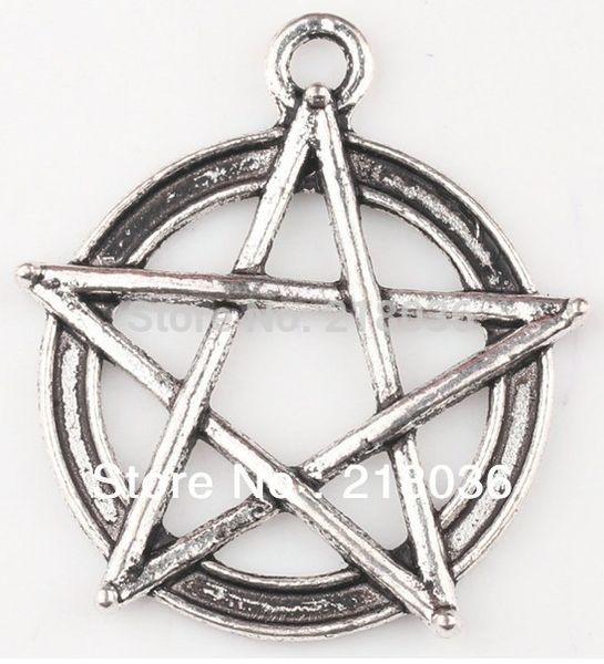 Fashion Vintage Tibetan Silver Pentagram Gothic Wicca Paga Alloy Charm Pendant For Bracelet Jewelry Findings Girls Bijoux M789