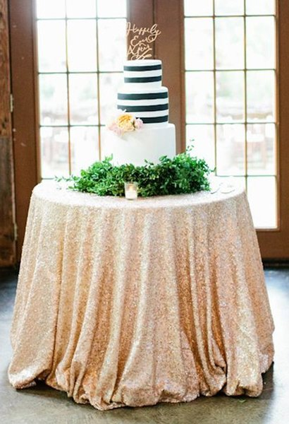 108'' Round Champagne Sequin Tablecloth Shiny Effect Embrodiery Stretch Tablecloth With Beads And Sequins For Wedding Decoration