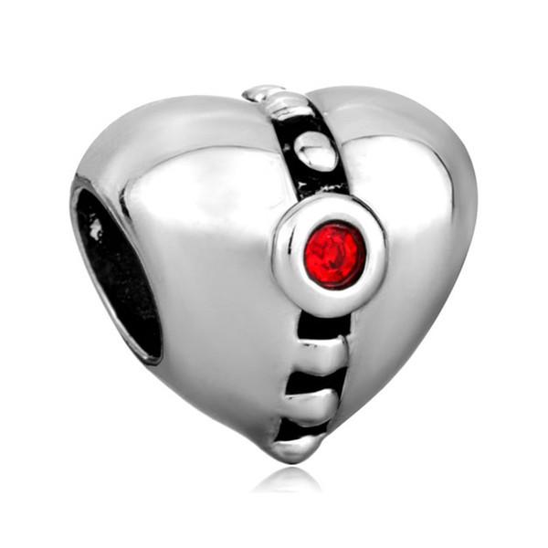 10 pcs per lot Red Crystal Birthstone Heart Love European Bead Fit Pandora Chamilia Biagi Charm Bracelet