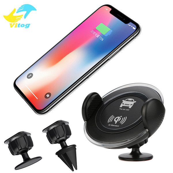 Car Mount Phone Holder Qi Wireless Charger Charging Pad Phone Holder Wireless Car Charger For iphone 8 X Samsung S6 S7 S7 Edge s8 s8 plus