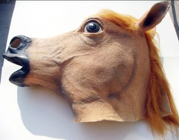 Wholesale-Halloween Masquerade horse head mask Party people jump riding dance Latex Remy Martin