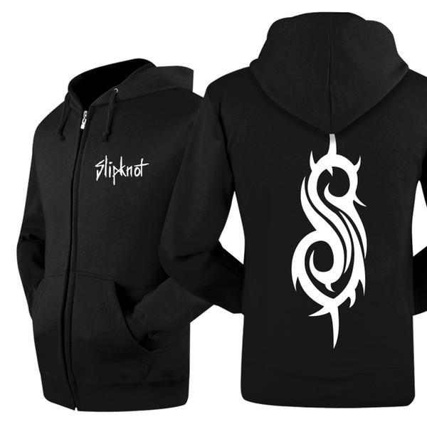 Оптовая продажа-2015 новый осенний костюм мужчины повседневная куртка черный молния пальто хип-хоп Slipknot панк-рок группа Мужские толстовки и кофты 3XL