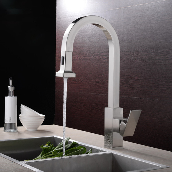 2019 Wholesale High Quality Large Solid Brass Brass Nickle Brushed Kitchen Faucet Pull Out Sprayer Sink Mixer Tap