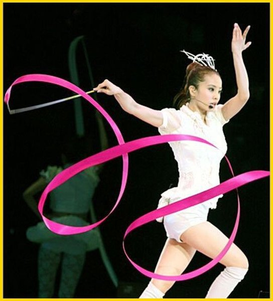 Hot Rhythmic Gymnastics Ribbon Pilates Baton Twirling Rod Stick Streamer Ribbons 4M Gym Dance & 11colors 1203#03