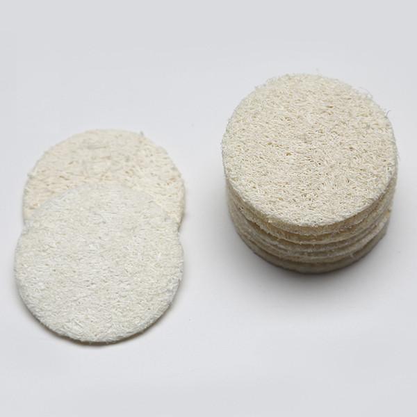top popular 5.5cm 6cm 7cm 8cm Roud Natural Loofah Pad Face Makeup Remove Exfoliating and Dead Skin Bath Shower Loofah 2019