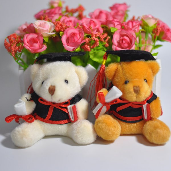 A granel 30ps / Lot 9cm Graduación oso de peluche Táctica oso muñeca teléfono celular colgante de dibujos animados felpa de peluche de juguete para el médico / estudiantes de regalo