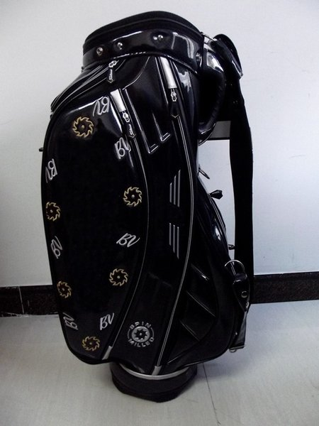 "top popular golf staff bag 2015 new style Ti PU black sun flower Golf cart Bags 9"" in 5 dividers 2019"
